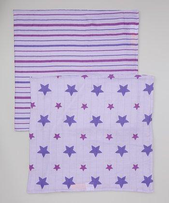 Lavender Star & Stripe Organic Swaddling Blanket Set
