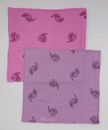 Rosebud & Violet Paisley Organic Swaddling Blanket Set