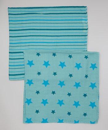 Teal Star & Stripe Organic Swaddling Blanket Set