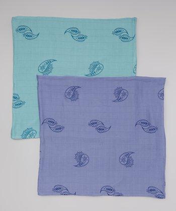 Periwinkle & Blueberry Paisley Organic Swaddling Blanket Set