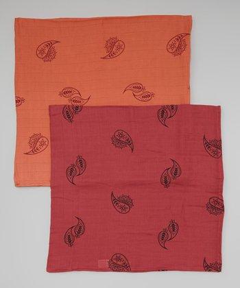 Terra-Cotta & Pumpkin Paisley Organic Swaddling Blanket Set