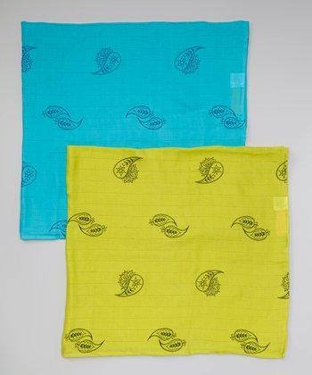 Teal & Lime Paisley Organic Swaddling Blanket Set