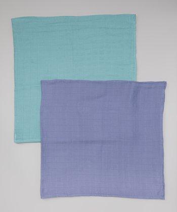 Periwinkle & Blueberry Organic Swaddling Blanket Set