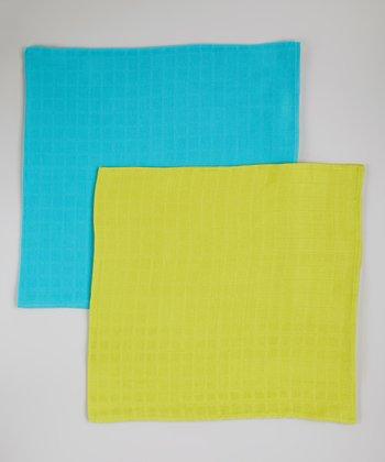 Teal & Lime Organic Swaddling Blanket Set