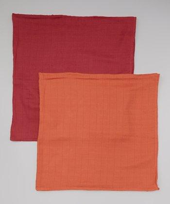 Terra-Cotta & Pumpkin Organic Swaddling Blanket Set