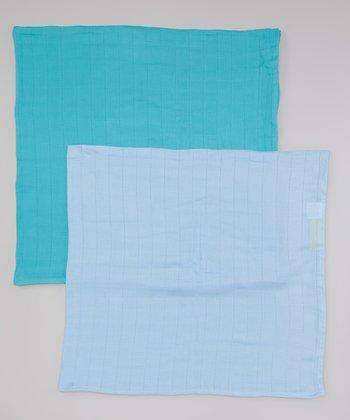 Sky Blue & Teal Organic Swaddling Blanket Set