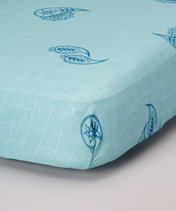 Periwinkle Paisley Organic Crib Sheet