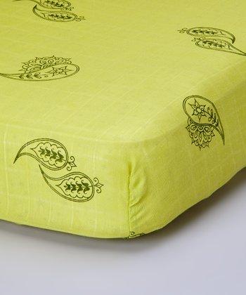 Lime Paisley Organic Crib Sheet