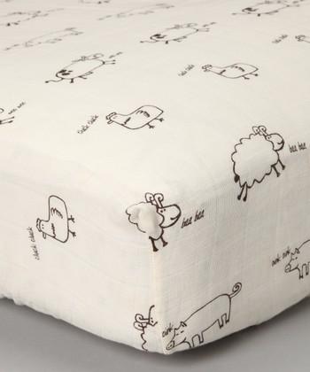 Tan Farm Animal Organic Muslin Crib Sheet