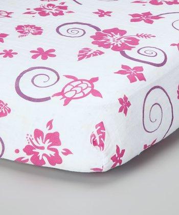 Pink & Purple Hawaiian Organic Muslin Crib Sheet