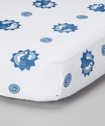 Blue Zen Elephants Organic Crib Sheet