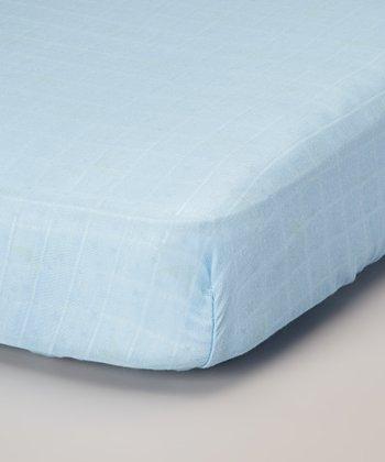 Sky Blue Organic Muslin Crib Sheet