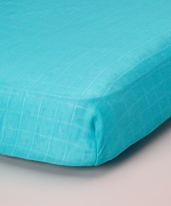 Teal Organic Muslin Crib Sheet