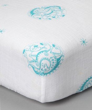 Teal Unicorn Organic Muslin Crib Sheet