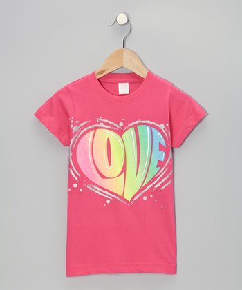 Hot Pink 'Love' Heart Tee - Toddler & Girls