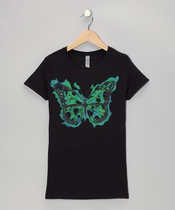 Black Butterfly Tee - Toddler & Girls