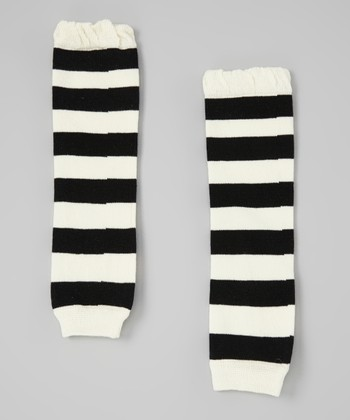 Black & White Stripe Leg Warmers