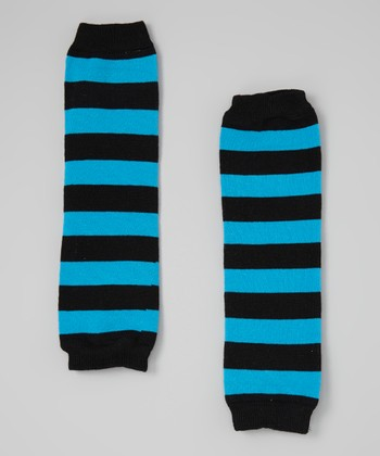Black & Turquoise Stripe Leg Warmers