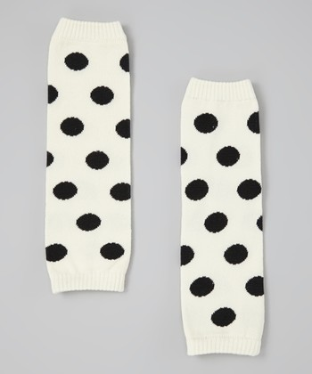 White & Black Polka Dot Leg Warmers