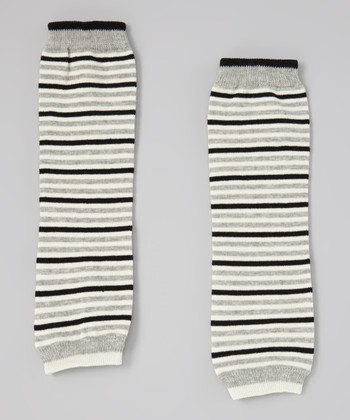 Gray Stripe Leg Warmers
