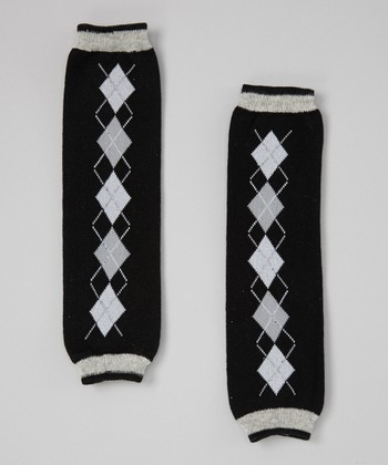 Black Argyle Leg Warmers