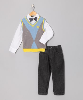 Light Blue & Yellow Argyle Vest Set - Infant, Toddler & Boys
