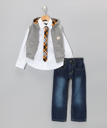 Gray Zip-Up Vest Set - Infant & Boys