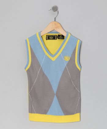 Gray & Yellow Argyle Sweater Vest - Infant, Toddler & Boys