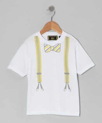 Yellow Bow Tie & Suspenders Tee - Infant, Toddler & Boys