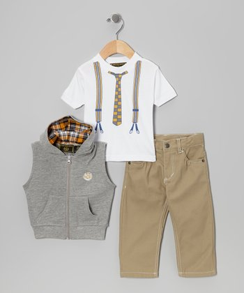 Gray & Tan Vest Set - Infant