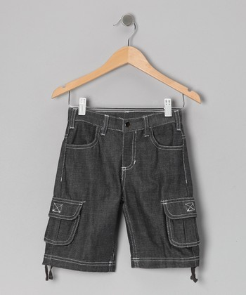 Black Medium-Wash Cargo Shorts - Infant, Toddler & Boys