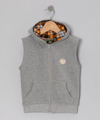 Gray Zip-Up Hoodie Vest - Infant