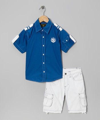 Royal Blue Nautical Button-Up & Shorts - Infant, Toddler & Boys