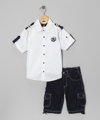 White Nautical Button-Up & Shorts - Infant, Toddler & Boys