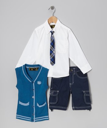 Royal Blue & White Button-Up Set - Infant, Toddler & Boys