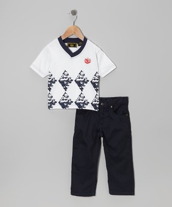 White Argyle Fade Tee & Jeans - Infant, Toddler & Boys