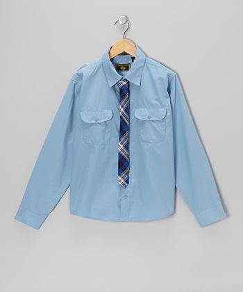 Blue Button-Up & Plaid Tie - Boys