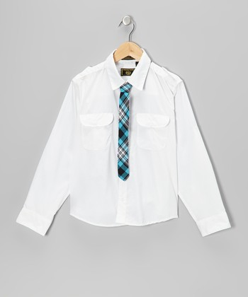 White Button-Up & Plaid Tie - Boys