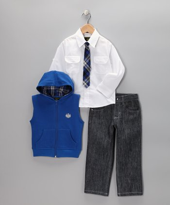 Blue Zip-Up Vest Set - Infant