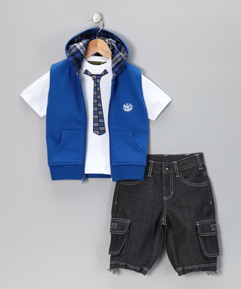 Dark Blue Zip-Up Vest Set - Infant & Toddler