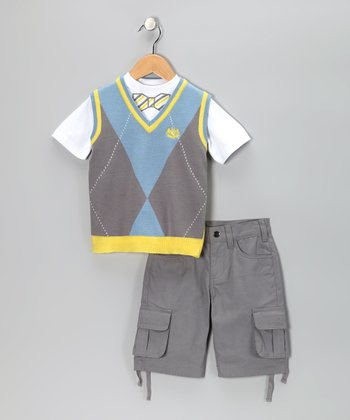 Gray Argyle Vest Set - Infant