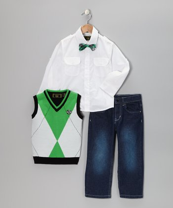 Emerald Argyle Vest Set - Toddler
