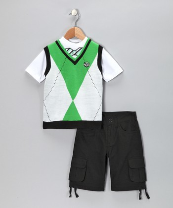 Emerald Argyle Vest Set - Infant