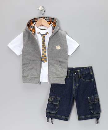 Gray Zip-Up Vest Set - Infant