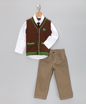 Chocolate & Emerald Button-Up Vest Set - Infant, Toddler & Boys