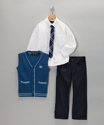 Monaco Blue & Dusk Button-Up Vest Set - Infant, Toddler & Boys