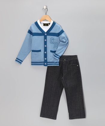 Raw Gray & Blue Varsity Cardigan Set - Infant & Toddler