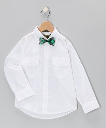 White Button-Up & Bow Tie - Infant, Toddler & Boys