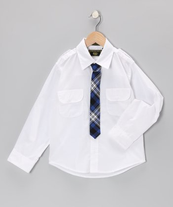 White Button-Up & Navy Plaid Tie - Toddler & Boys