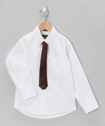 White Button-Up & Brown Tie - Boys & Toddler
